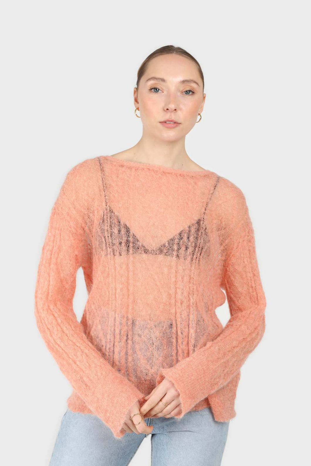 Pale orange sheer cableknit wool blend jumper1sx