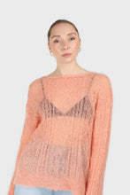 Load image into Gallery viewer, Pale orange sheer cableknit wool blend jumper2