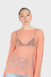 Pale orange sheer cableknit wool blend jumper2