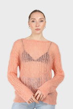 Load image into Gallery viewer, Pale orange sheer cableknit wool blend jumper3