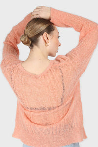 Pale orange sheer cableknit wool blend jumper4