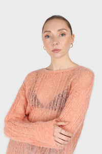 Pale orange sheer cableknit wool blend jumper5