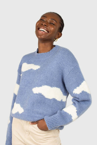 Blue and white intarsia cloud wool blend jumper1