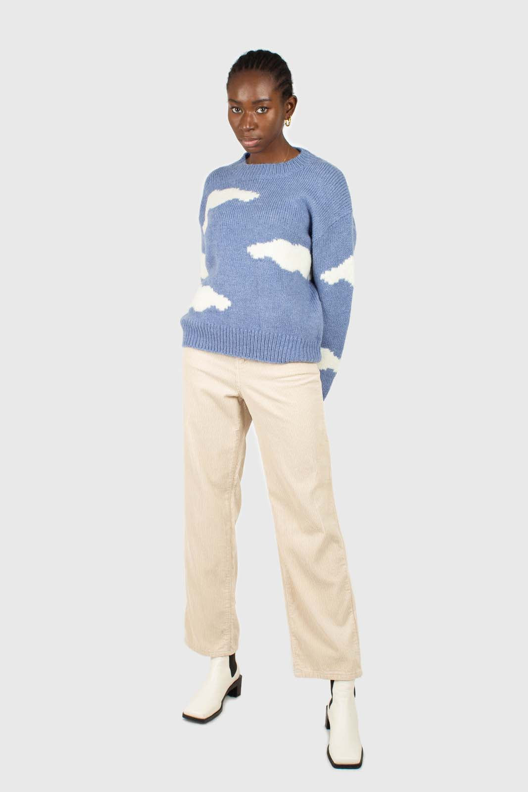 Blue and white intarsia cloud wool blend jumper2