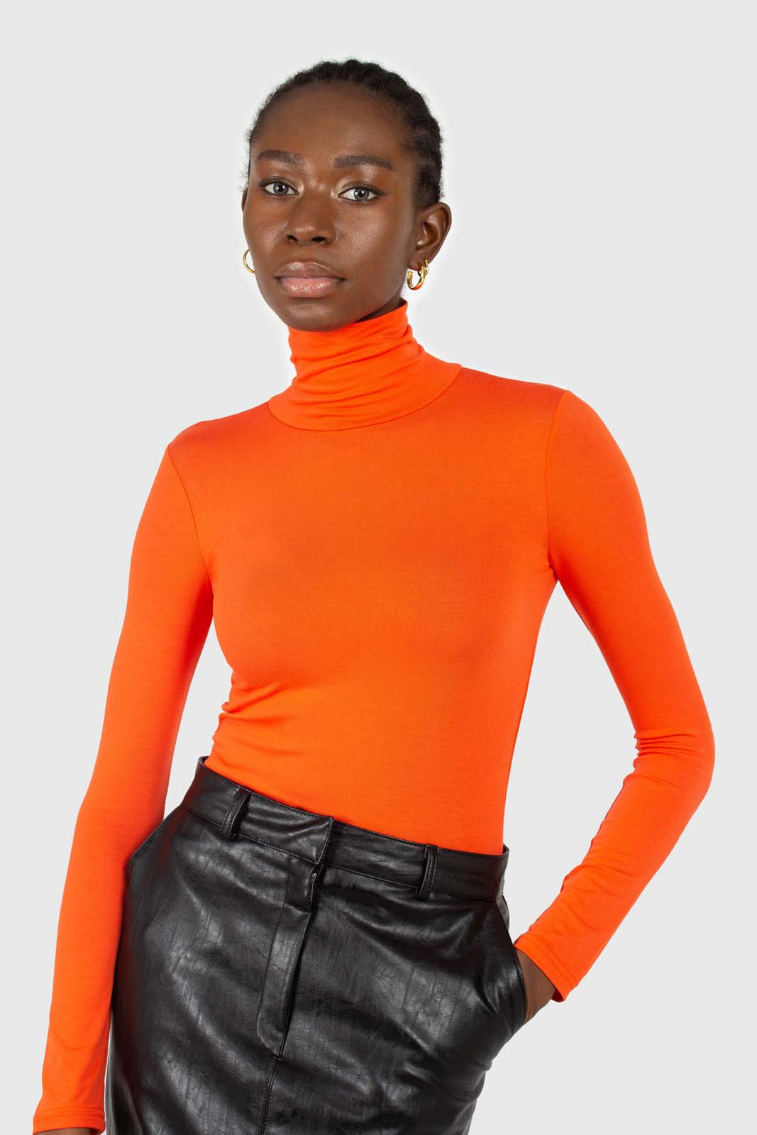 Bright orange soft jersey turtleneck top1