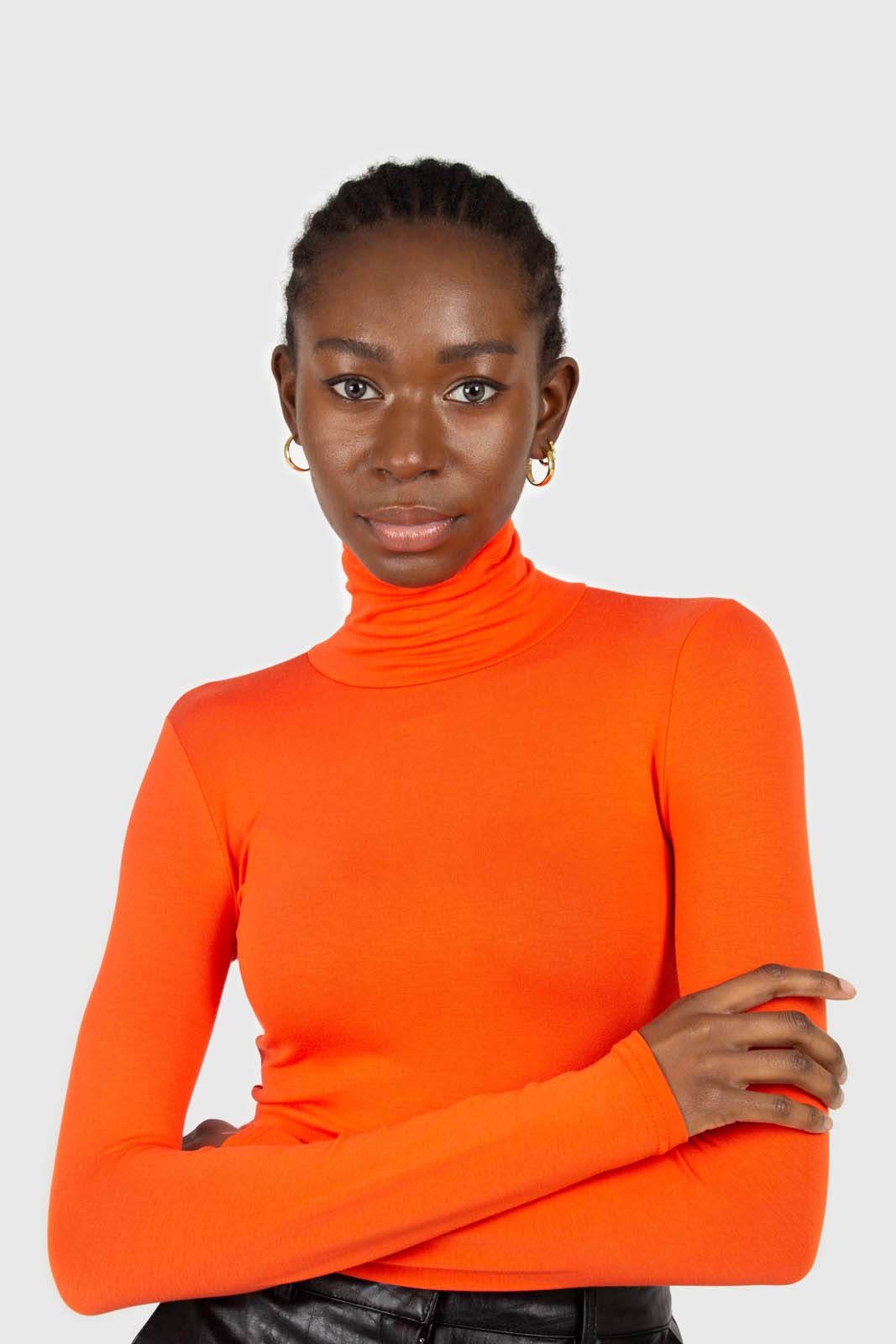 Bright orange soft jersey turtleneck top2