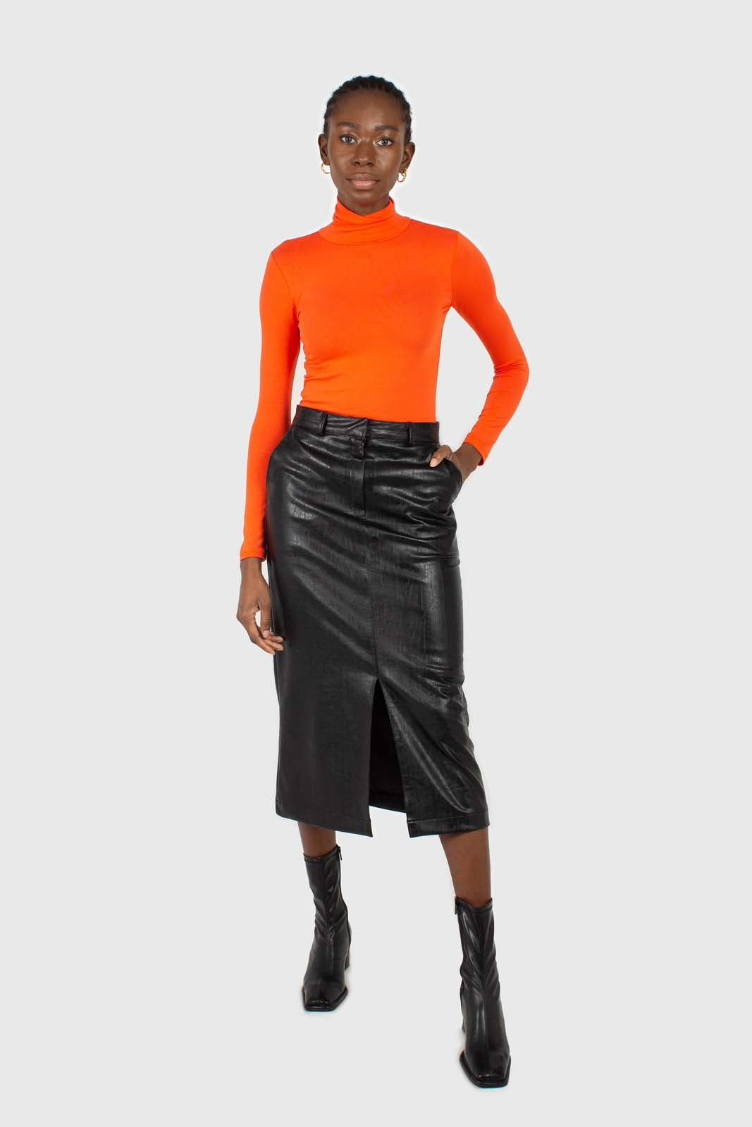 Bright orange soft jersey turtleneck top3