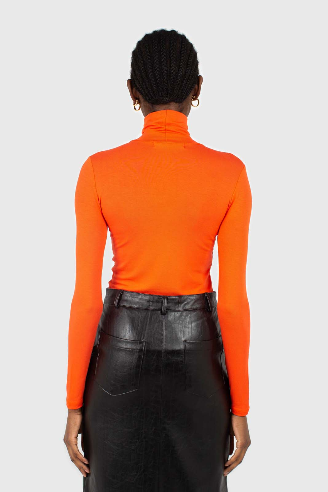 Bright orange soft jersey turtleneck top6