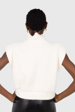 Load image into Gallery viewer, Ivory fuzzy structured shoulder pad vest top3