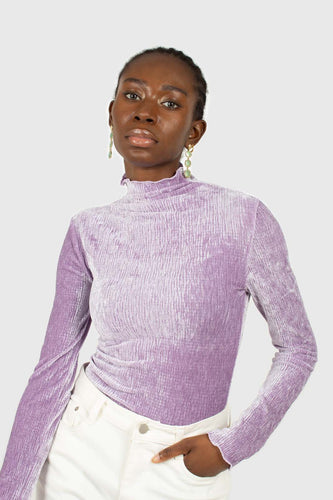 Lilac wrinkle velvet turtleneck top1