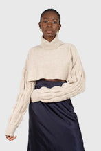 Load image into Gallery viewer, Beige balloon sleeved cropped wool blend turtleneck top1