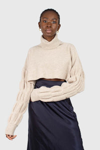 Beige balloon sleeved cropped wool blend turtleneck top1