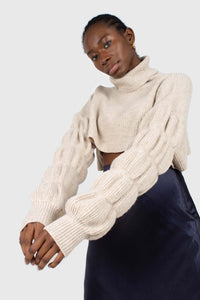 Beige balloon sleeved cropped wool blend turtleneck top3