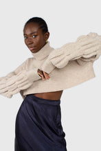 Load image into Gallery viewer, Beige balloon sleeved cropped wool blend turtleneck top4