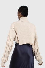 Load image into Gallery viewer, Beige balloon sleeved cropped wool blend turtleneck top6