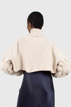 Load image into Gallery viewer, Beige balloon sleeved cropped wool blend turtleneck top8