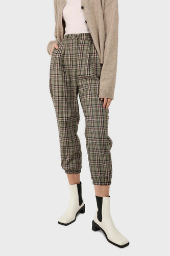 Khaki bold checked slim ankle trousers1