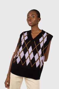 Black and lilac argyle sweater vest2