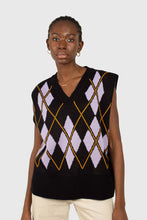 Load image into Gallery viewer, Black and lilac argyle sweater vest3