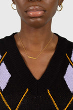 Load image into Gallery viewer, Black and lilac argyle sweater vest4