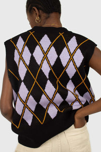 Black and lilac argyle sweater vest5
