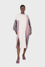 Load image into Gallery viewer, Grey and pink color block sweatshirt dress1