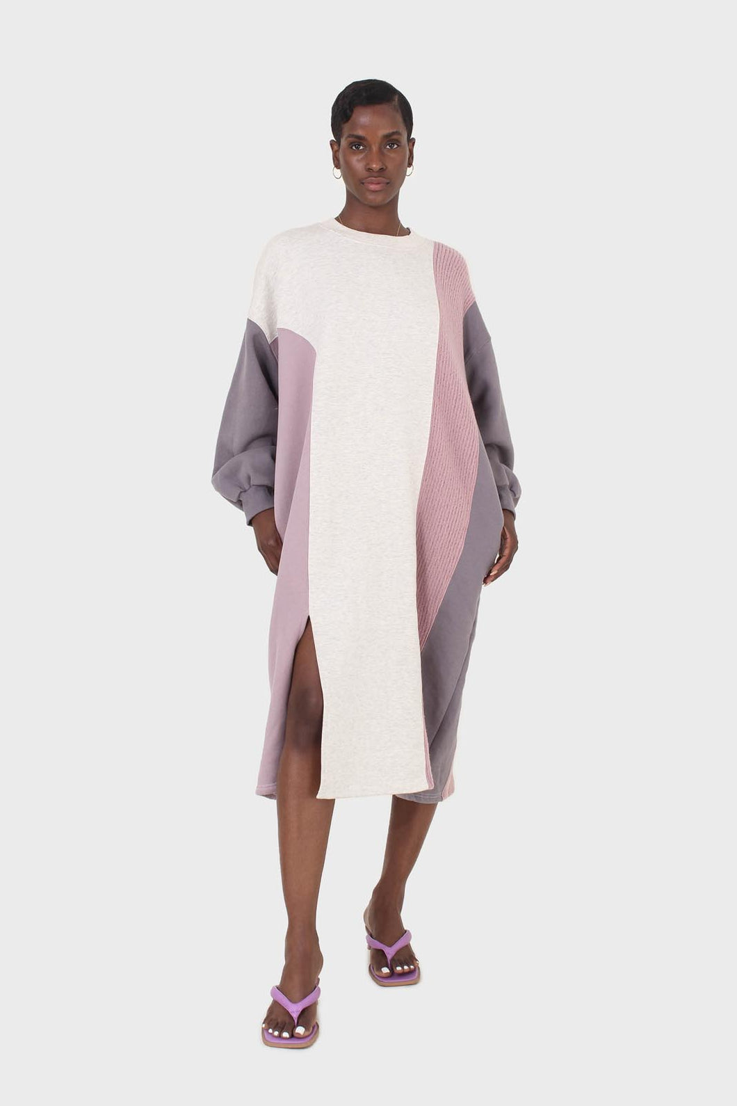 Grey and pink color block sweatshirt dress1