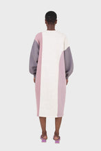 Load image into Gallery viewer, Grey and pink color block sweatshirt dress3