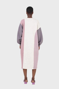 Grey and pink color block sweatshirt dress3