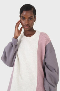Grey and pink color block sweatshirt dress4