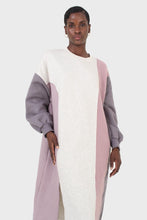 Load image into Gallery viewer, Grey and pink color block sweatshirt dress5
