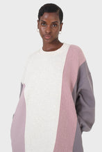 Load image into Gallery viewer, Grey and pink color block sweatshirt dress6