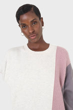 Load image into Gallery viewer, Grey and pink color block sweatshirt dress7