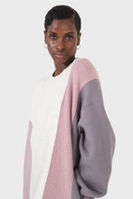 Load image into Gallery viewer, Grey and pink color block sweatshirt dress8