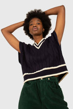 Load image into Gallery viewer, Navy and white varsity trim cableknit vest2