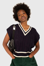 Load image into Gallery viewer, Navy and white varsity trim cableknit vest3