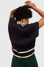 Load image into Gallery viewer, Navy and white varsity trim cableknit vest4
