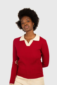 Red and white contrast collar knit top1