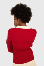 Load image into Gallery viewer, Red and white contrast collar knit top4