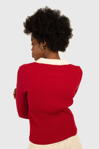 Red and white contrast collar knit top4
