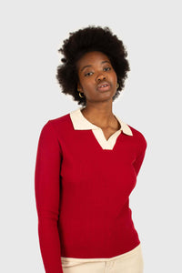 Red and white contrast collar knit top5