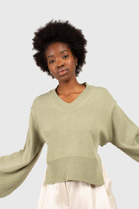 Mint green v-neck tie back jumper1