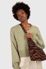 Load image into Gallery viewer, Mint green v-neck tie back jumper2