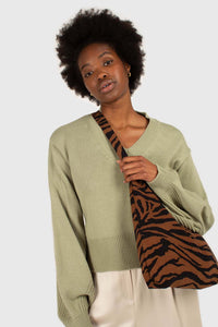 Mint green v-neck tie back jumper2