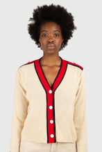 Load image into Gallery viewer, Light beige and red contrast trim cardigan1