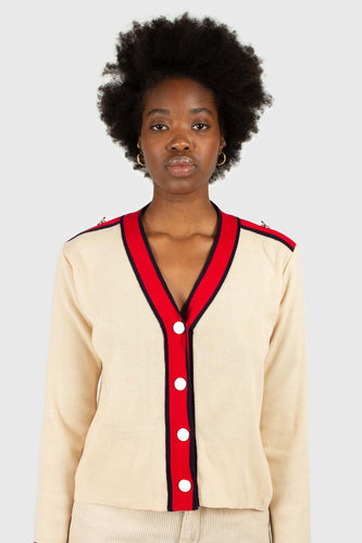 Light beige and red contrast trim cardigan1