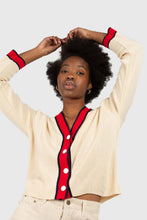 Load image into Gallery viewer, Light beige and red contrast trim cardigan2