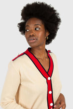 Load image into Gallery viewer, Light beige and red contrast trim cardigan3