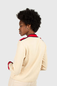 Light beige and red contrast trim cardigan4