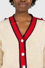Load image into Gallery viewer, Light beige and red contrast trim cardigan5